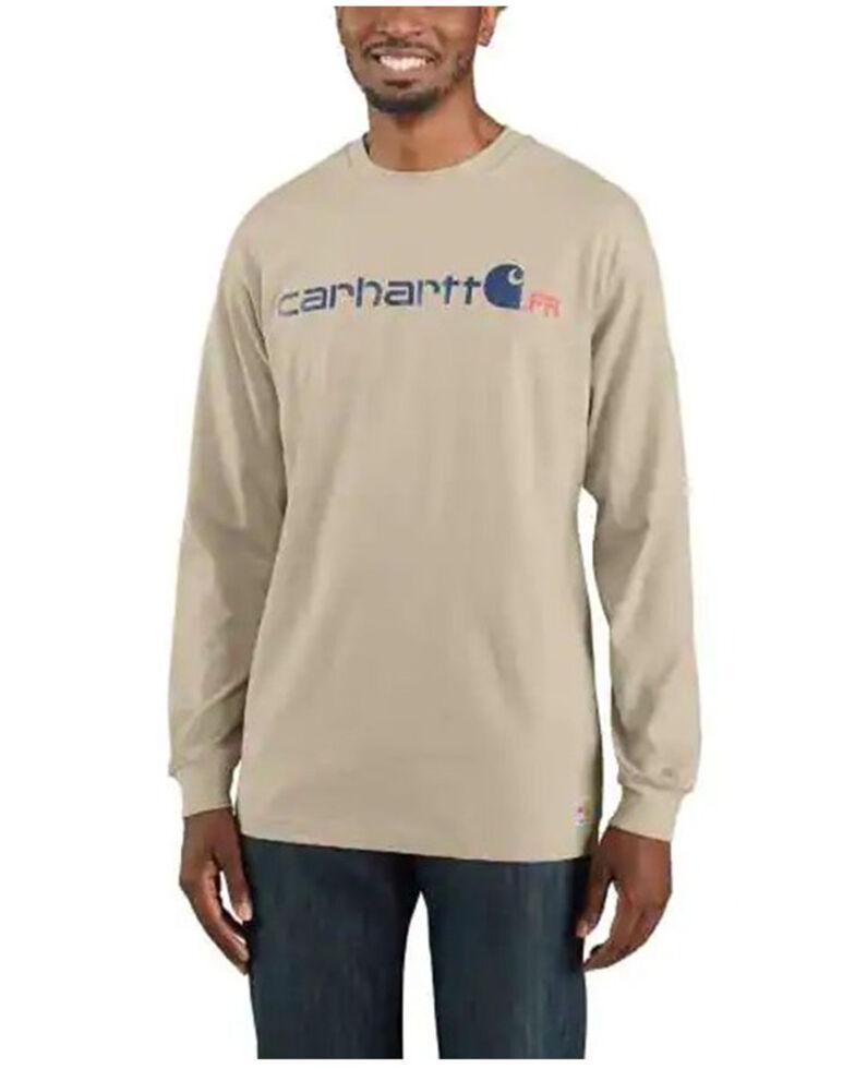 Carhartt Men's Light Khaki FR Force Midweight Logo Long Sleeve Work T-Shirt , Lt Brown, hi-res