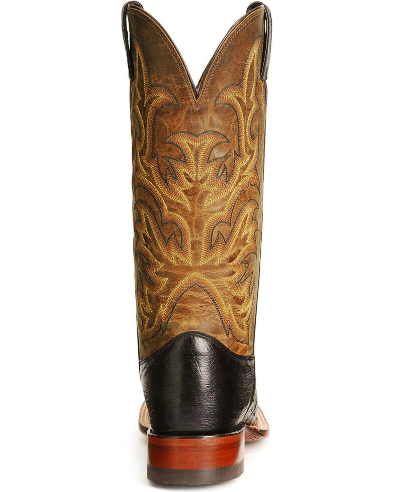 Justin Men's Smooth Ostrich Exotic Western Boots, Black, hi-res