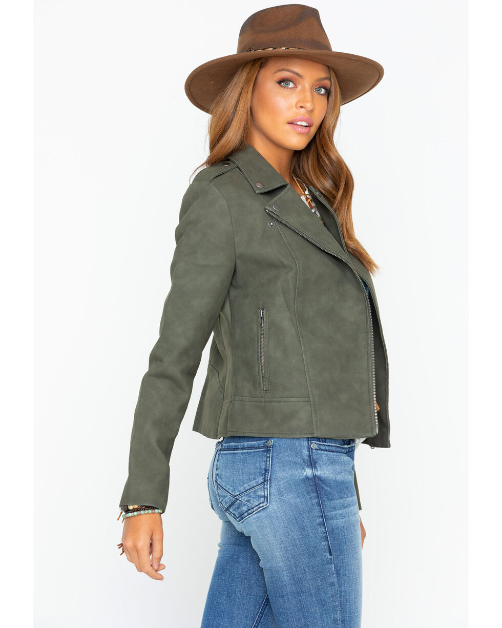 BB Dakota Women's Easy Rider Moto Jacket , Moss Green, hi-res