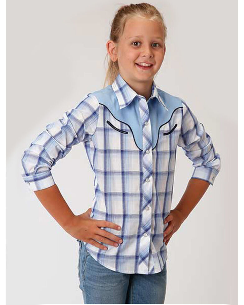 Karman Girls' Horse Plaid Long Sleeve Western Shirt , Blue, hi-res