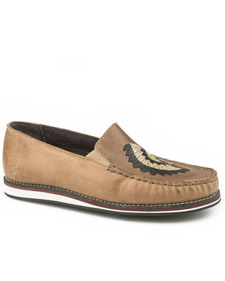 Roper Women's Feather Headdress Embroidery Slip-On Shoes - Moc Toe, Tan, hi-res