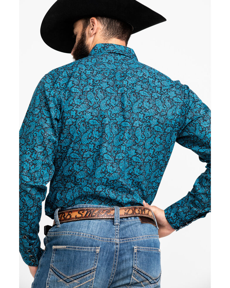 Roper Men's Crackle Paisley Print Long Sleeve Western Shirt , Blue, hi-res