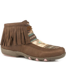 Roper Women's Santa Fe Fringed Chukka Driving Mocs - Round Toe , Brown, hi-res