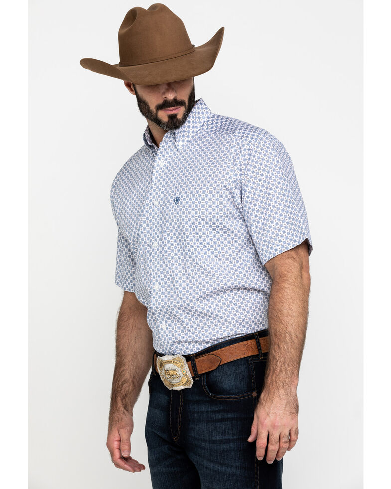 Ariat Men's Lucas Small Geo Print Short Sleeve Western Shirt - Big , White, hi-res
