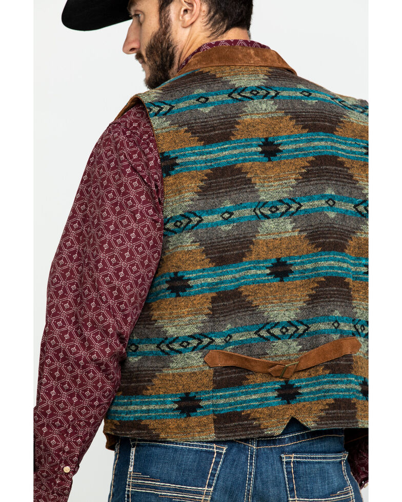 Scully Leatherwear Men's Aztec Knit Back Suede Vest , , hi-res