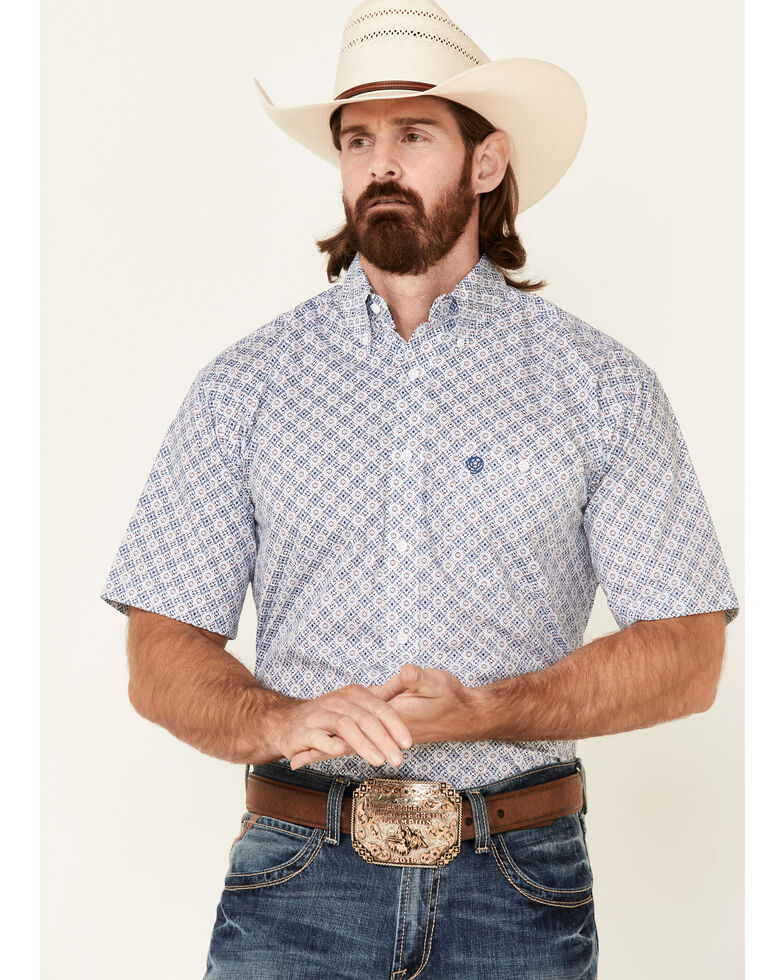 George Strait By Wrangler Men's White Medallion Geo Print Short Sleeve Button-Down Western Shirt , White, hi-res