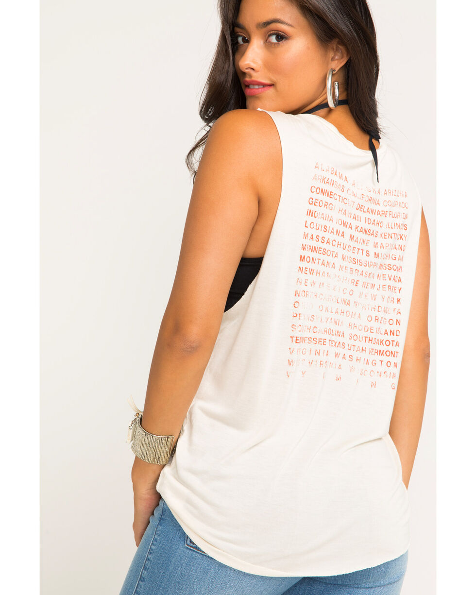 Project Social T Women's Cream USA Eagle Muscle Tee , Cream, hi-res