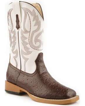 Roper Kid's Ostrich Print Western Boots, Brown, hi-res