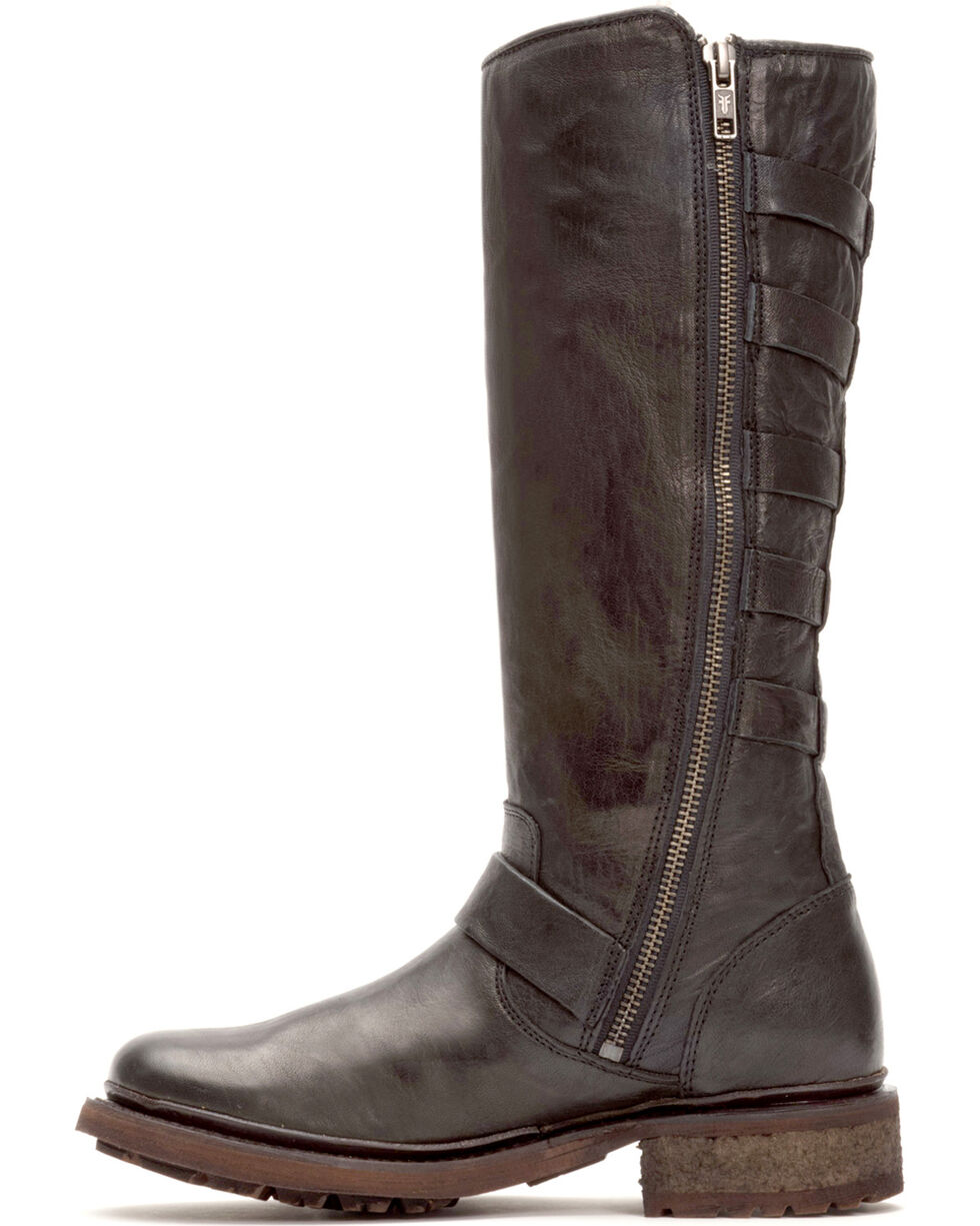 Frye Women's Black Valerie Belted Tall Shearling Boots - Round Toe , Black, hi-res