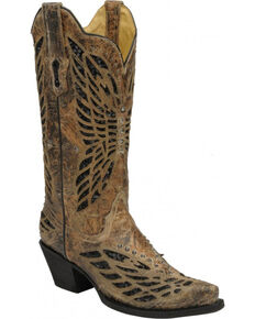 Corral Women's Sequin & Crystal Butterfly Western Boots, Bronze, hi-res