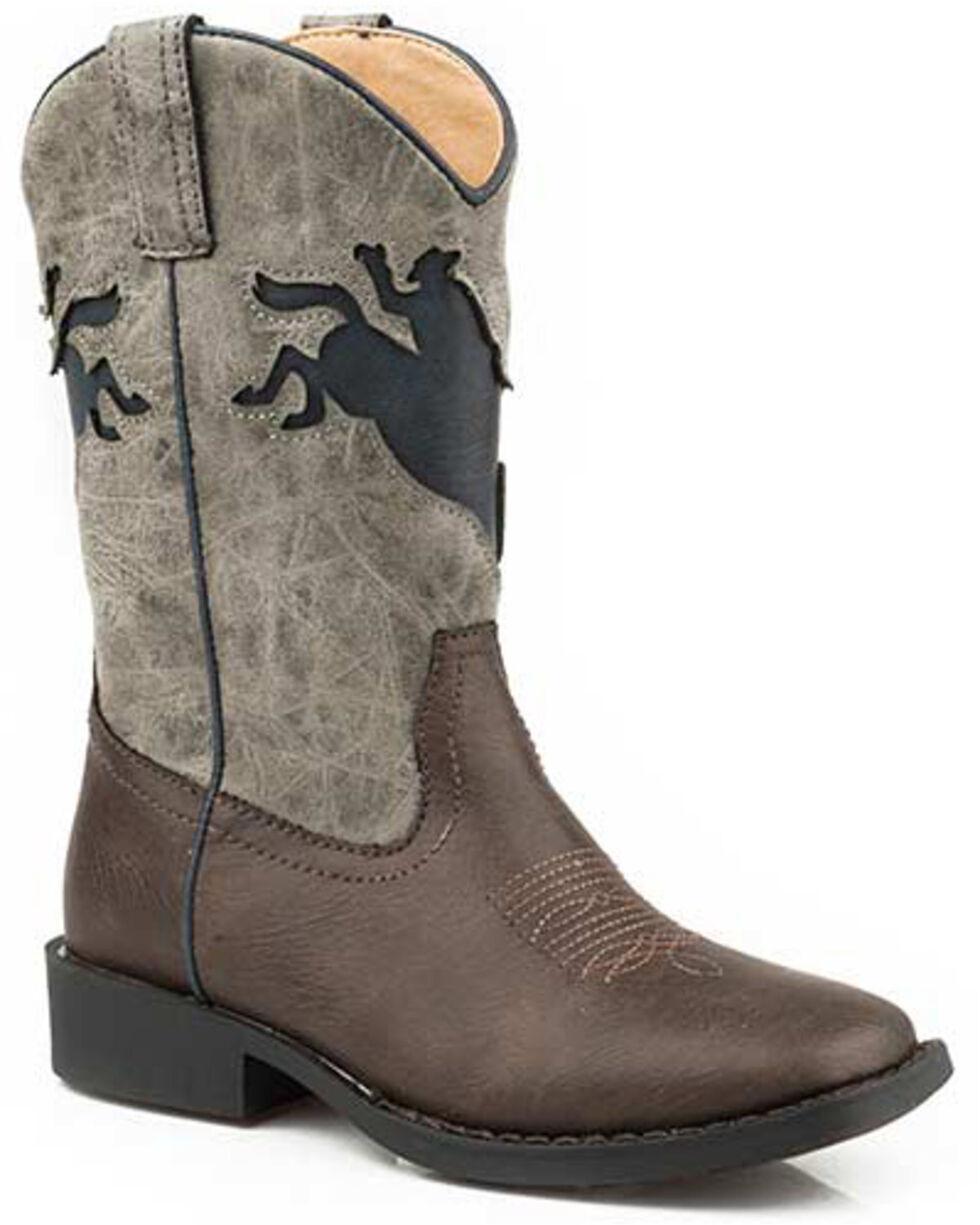 Roper Girls' Buckin Bronco Western Boots - Square Toe, Brown, hi-res