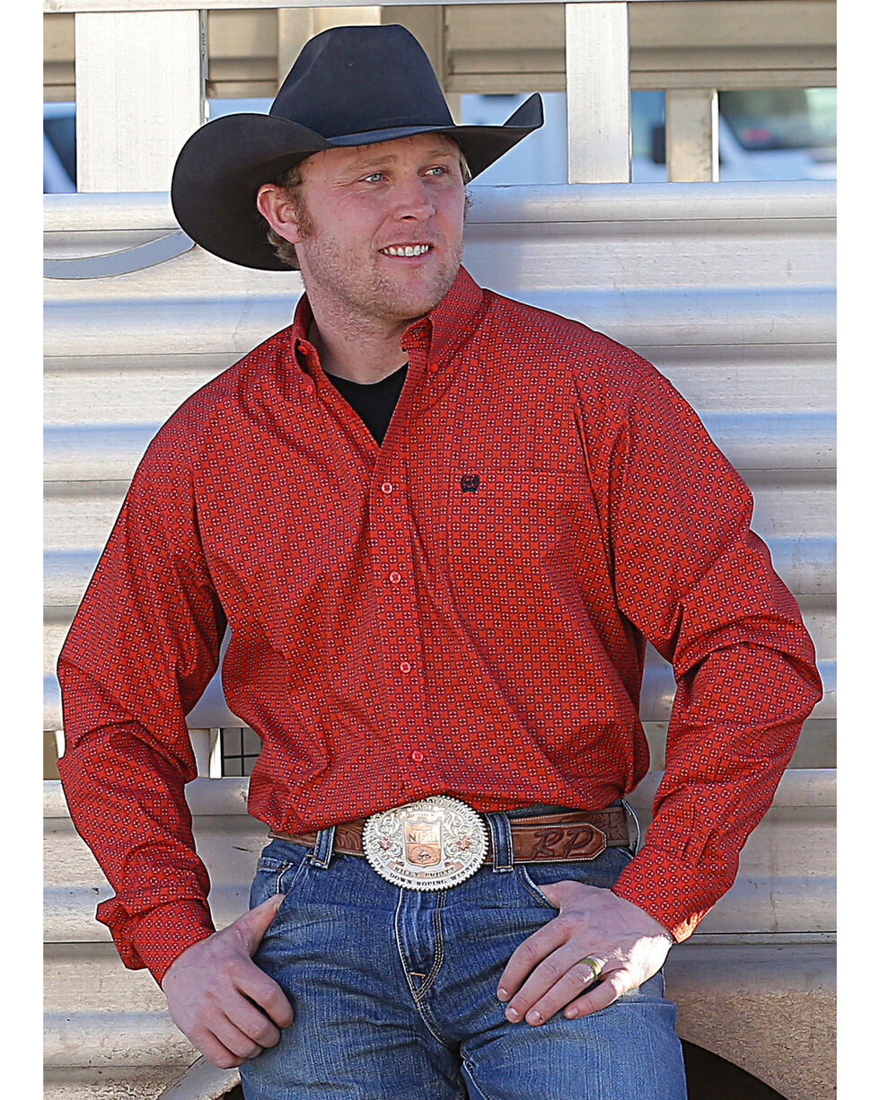 Cinch Men's Orange Geometric Print Western Shirt , Orange, hi-res