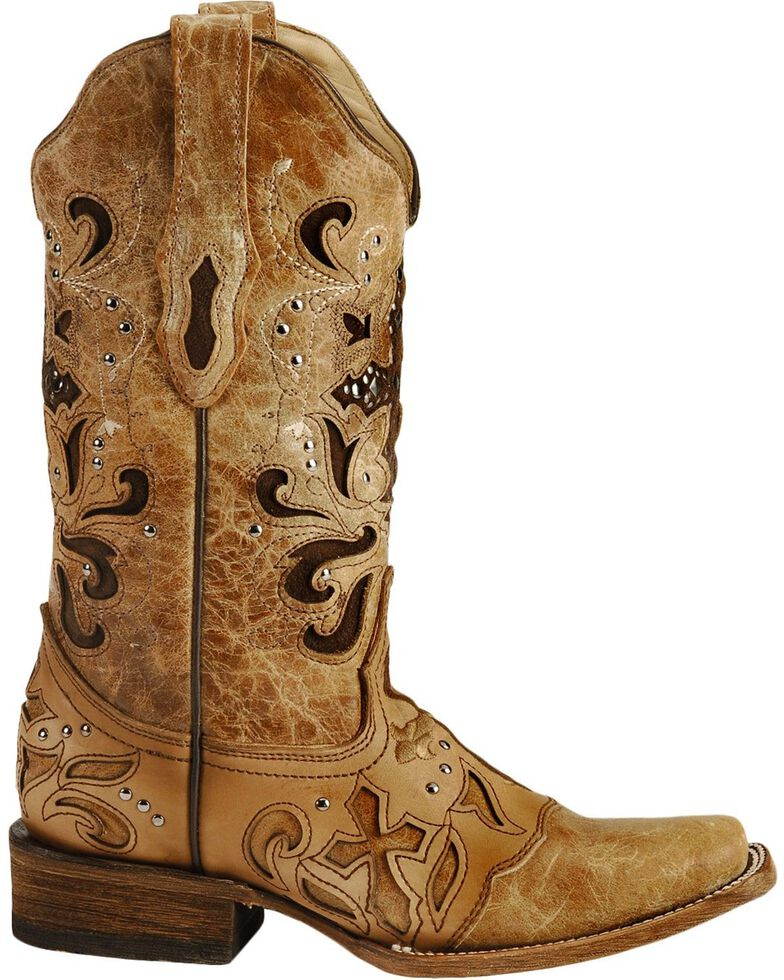 Corral Women's Studded Cross Inlay Western Boots, Saddle Tan, hi-res