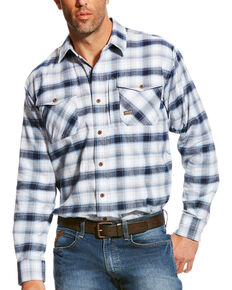 Ariat Men's Rebar Flannel Azul Plaid Flannel Long Sleeve Work Shirt, Blue, hi-res