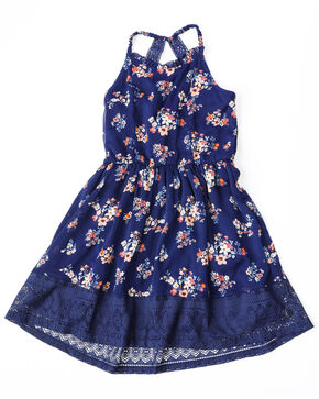 Shyanne Girls' Floral Twin Print Tank Crochet Dress , Navy, hi-res