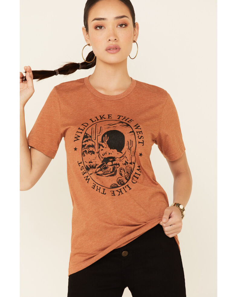 Ali Dee Women's Heather Autumn Wild Like The West Graphic Short Sleeve Tee , Rust Copper, hi-res