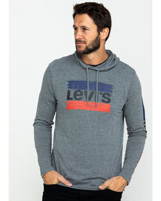 Levis Men's Evans Logo Graphic Hooded Sweatshirt , Grey, hi-res