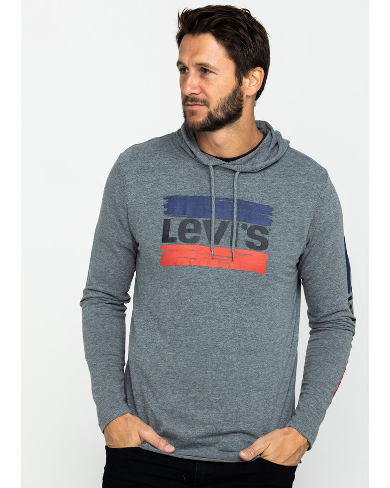Levi's Men's Evans Logo Graphic Hooded Sweatshirt , Grey, hi-res