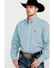 Cinch Men's Light Blue Tencel Geo Print Long Sleeve Western Shirt , Light Blue, hi-res