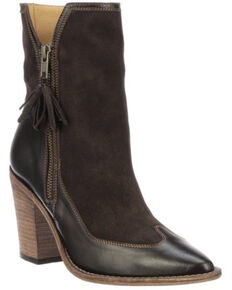 Lucchese Women's Peri Fashion Booties - Round Toe, Chocolate, hi-res