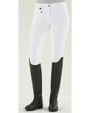 Ovation Women's Full Seat Euroweave DX Breeches, White, hi-res