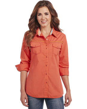 Cowgirl Up Women's Embroidered Long Sleeve Snap Shirt, Orange, hi-res