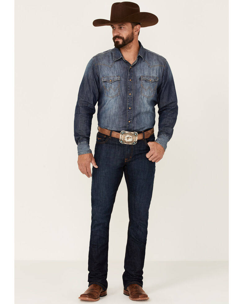 Kimes Ranch Men's Roger Dark Wash Stretch Slim Bootcut Jeans , Blue, hi-res