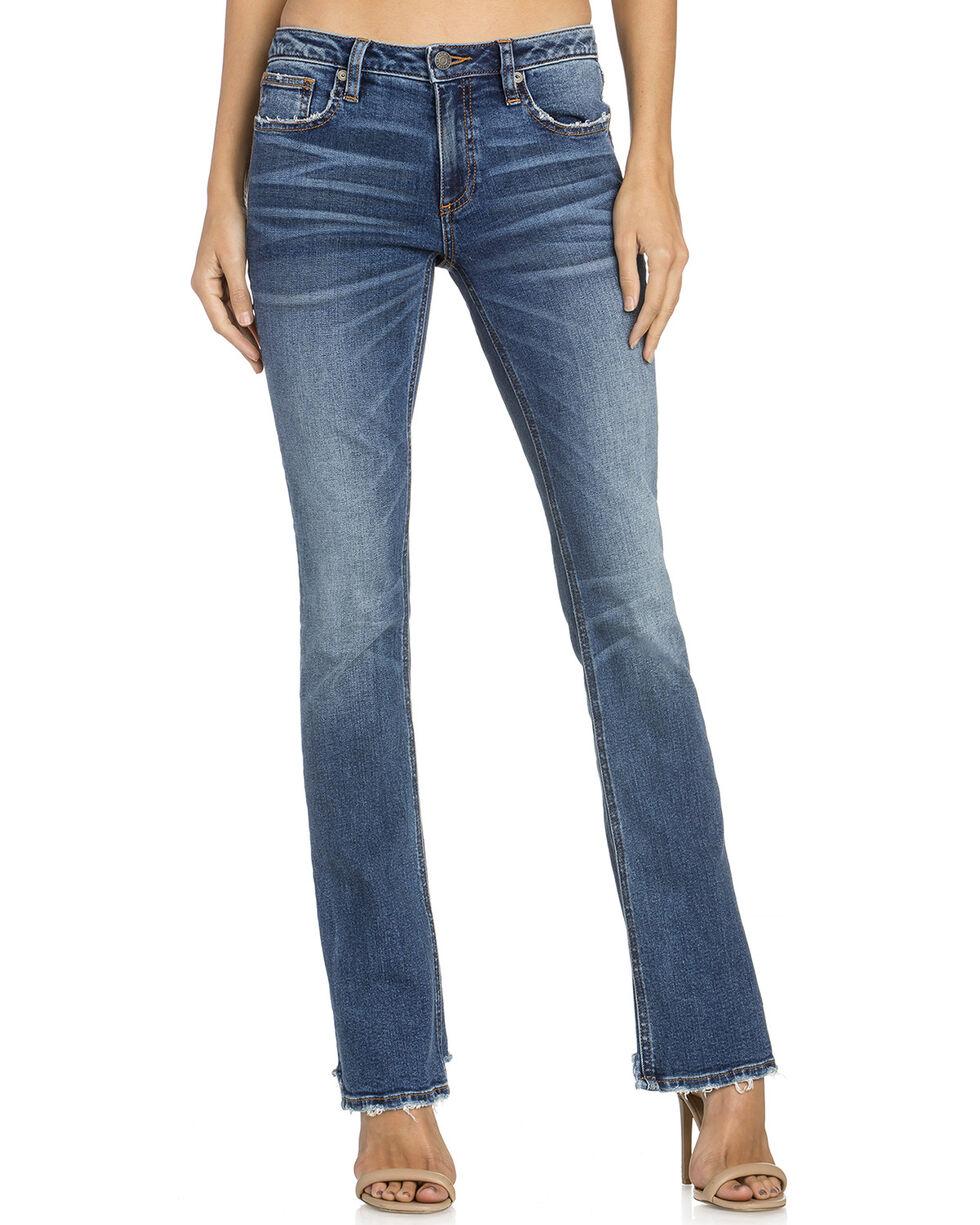 Miss Me Women's Distressed Hem Boot Cut Jeans , Indigo, hi-res