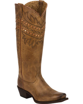 Tony Lama Women's Vaquero Embroidered Collar Western Boots, Brown, hi-res