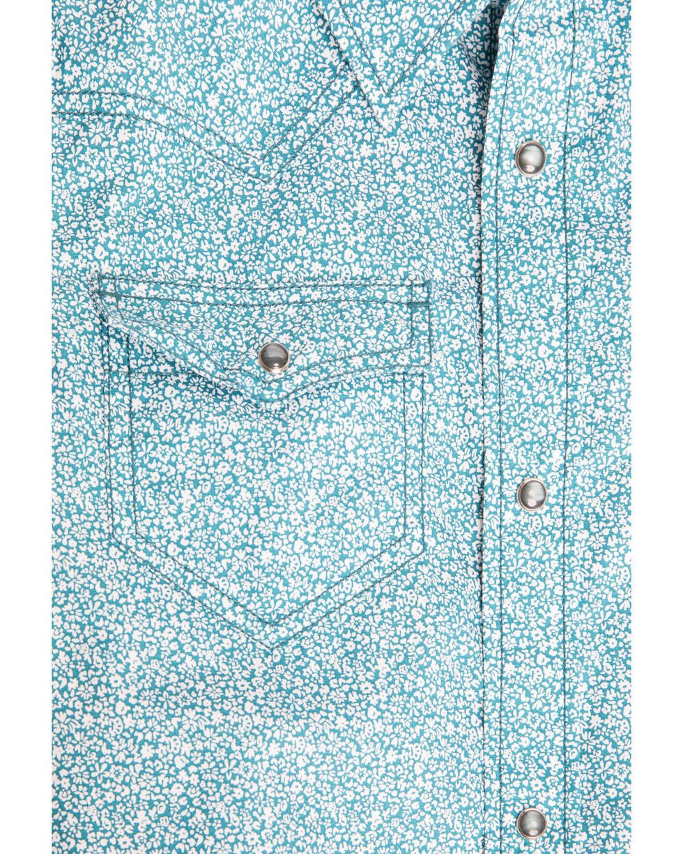 Cody James Boys' Windy Meadow Print Long Sleeve Western Shirt , Blue, hi-res