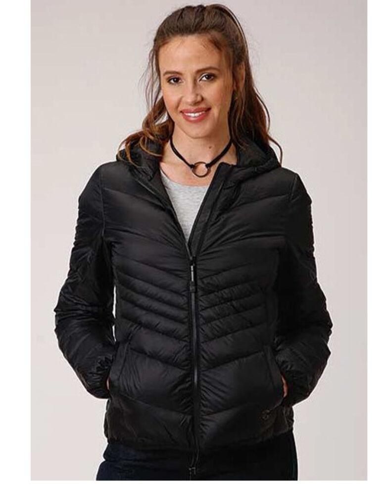 Roper Women's Black Lightweight Down Quilted Hooded Jacket , Black, hi-res