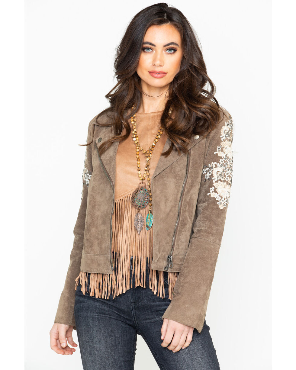 Driftwood Women's Moto Suede Ivory Floral Embroidered Jacket  , Taupe, hi-res