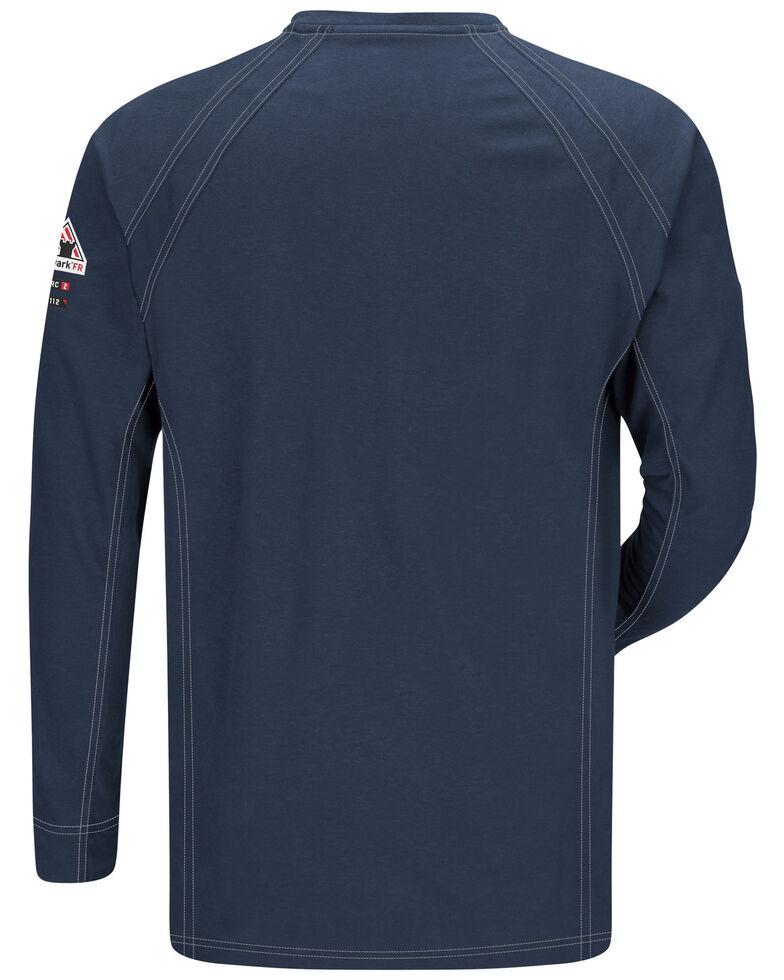 Bulwark Men's Dark Blue iQ Series Flame Resistant Henley Work Shirt , Dark Blue, hi-res