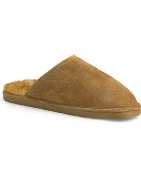Lamo Men's Scuff Leather Slippers, Chestnut, hi-res