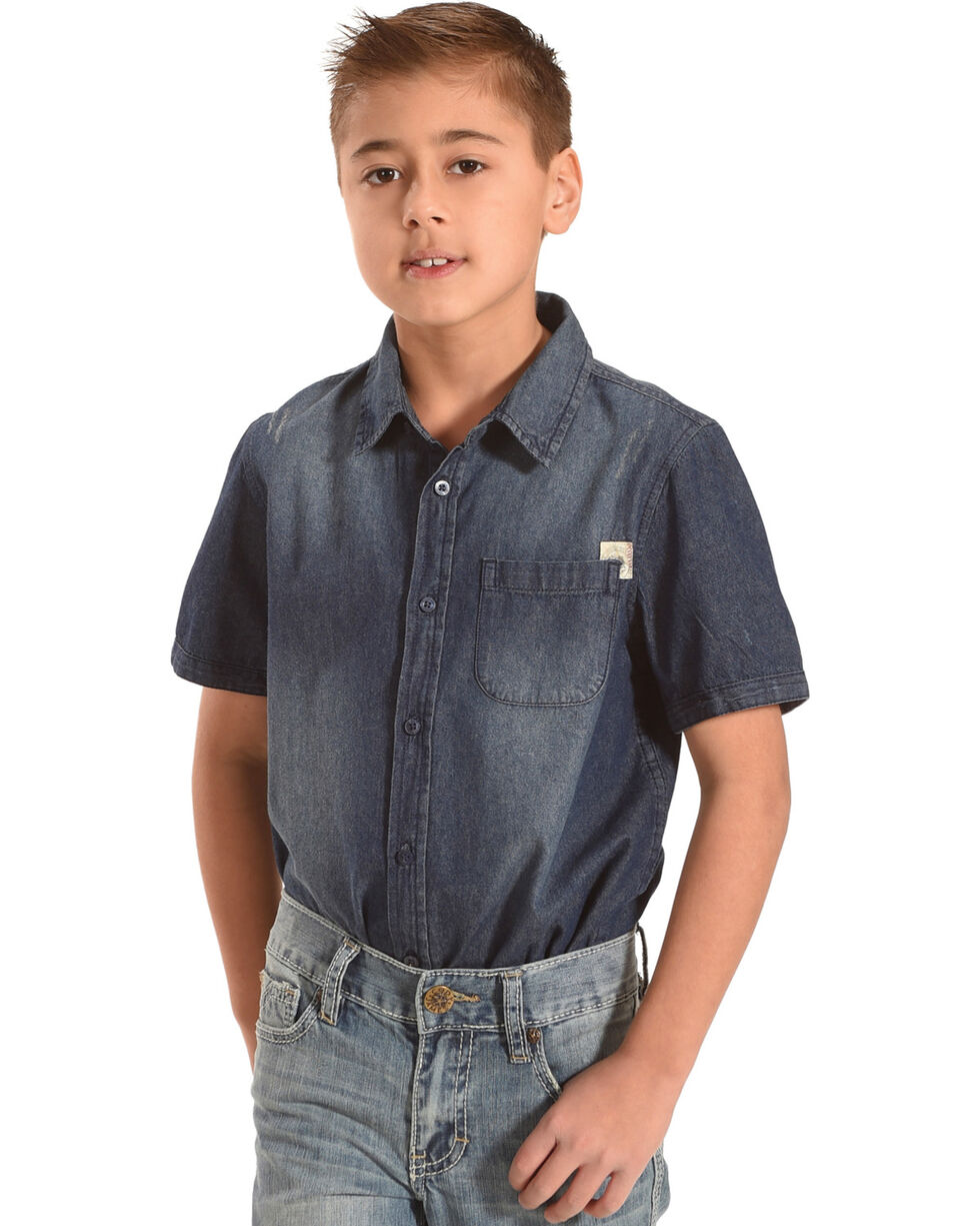 Silver Boys' Denim Short Sleeve Button Down Shirt, Indigo, hi-res