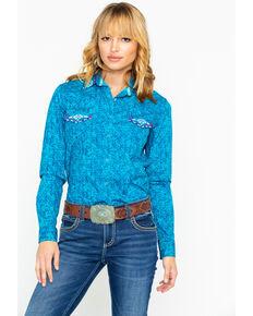 Panhandle Women's Rainey Vintage Long Sleeve Western Shirt, Teal, hi-res