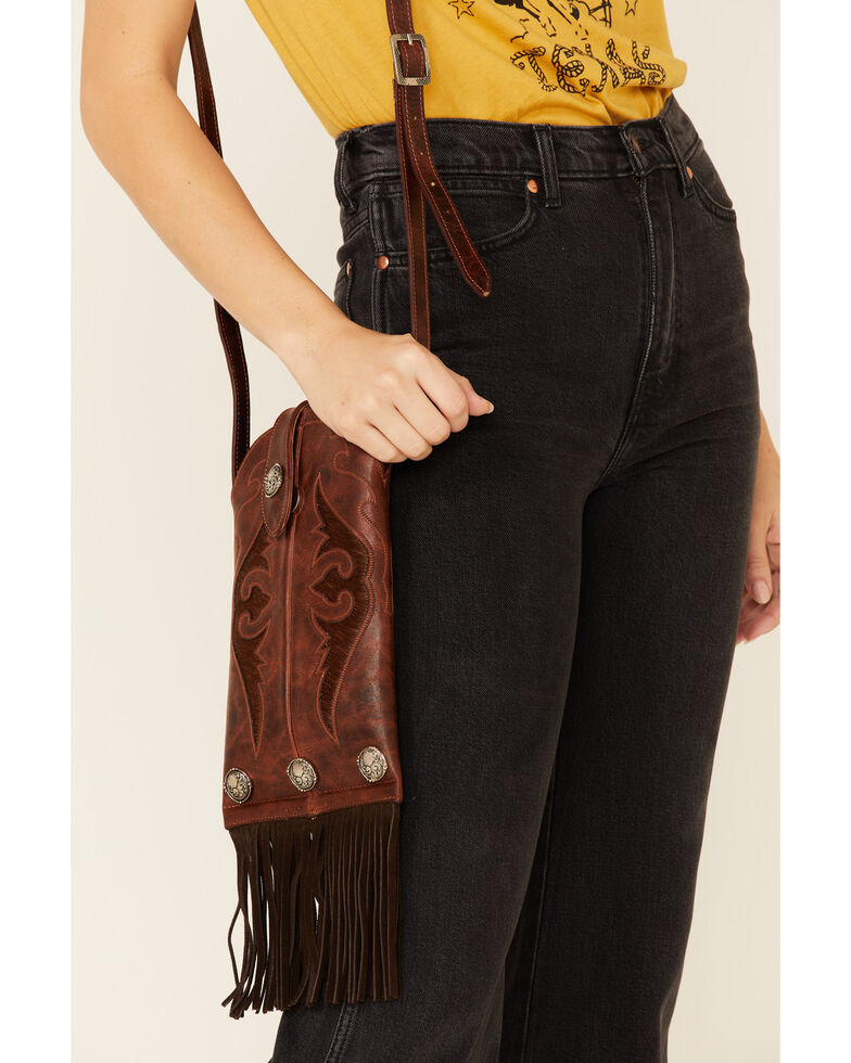Shyanne Women's Boot Stitch Chestnut Crossbody Bag, Chestnut, hi-res