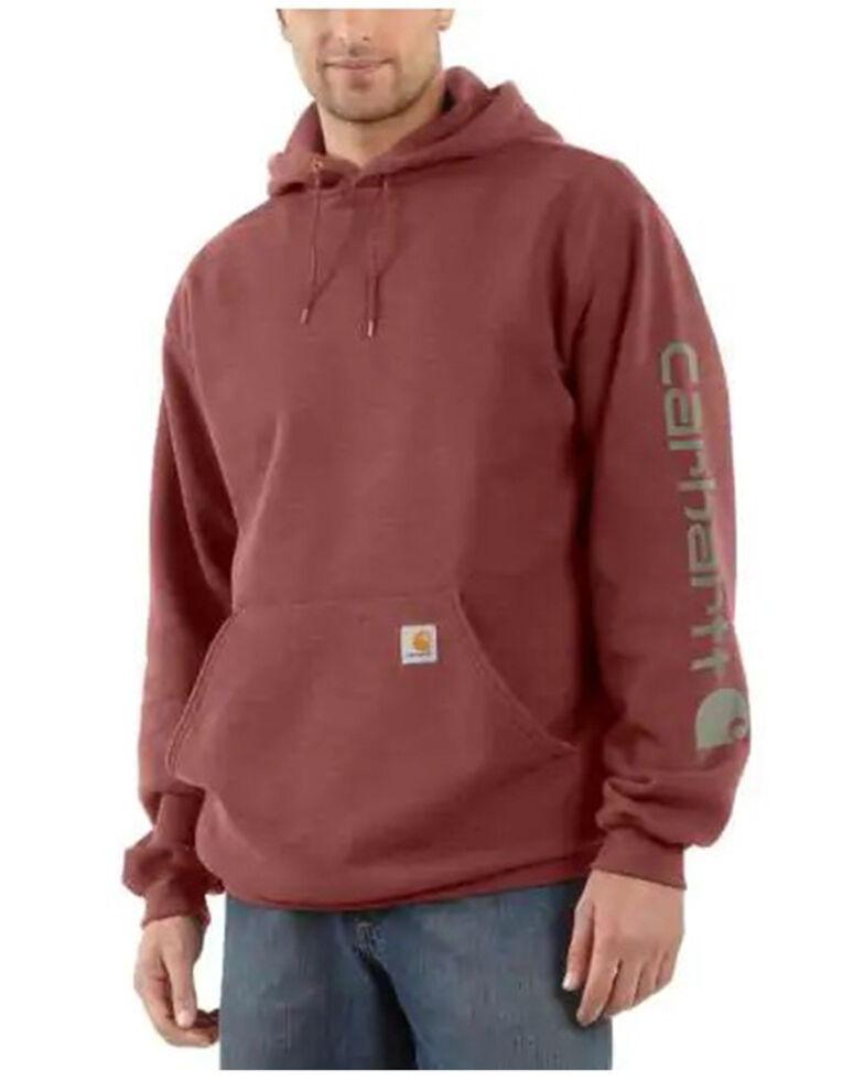 Carhartt Men's Heather Red Signature Sleeve Logo Hooded Work Sweatshirt - Big , Heather Red, hi-res