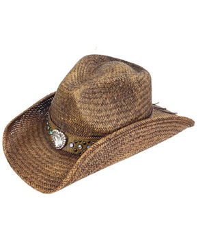 Peter Grimm Women's Bella Bling Heart Concho Hat , Dark Brown, hi-res