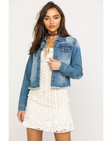 Shyanne Women's Distressed Crop Denim Jacket, Blue, hi-res