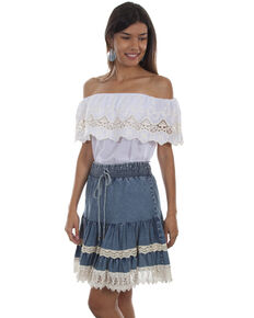 Honey Creek by Scully Women's Denim Lace Trim Skirt, Blue, hi-res