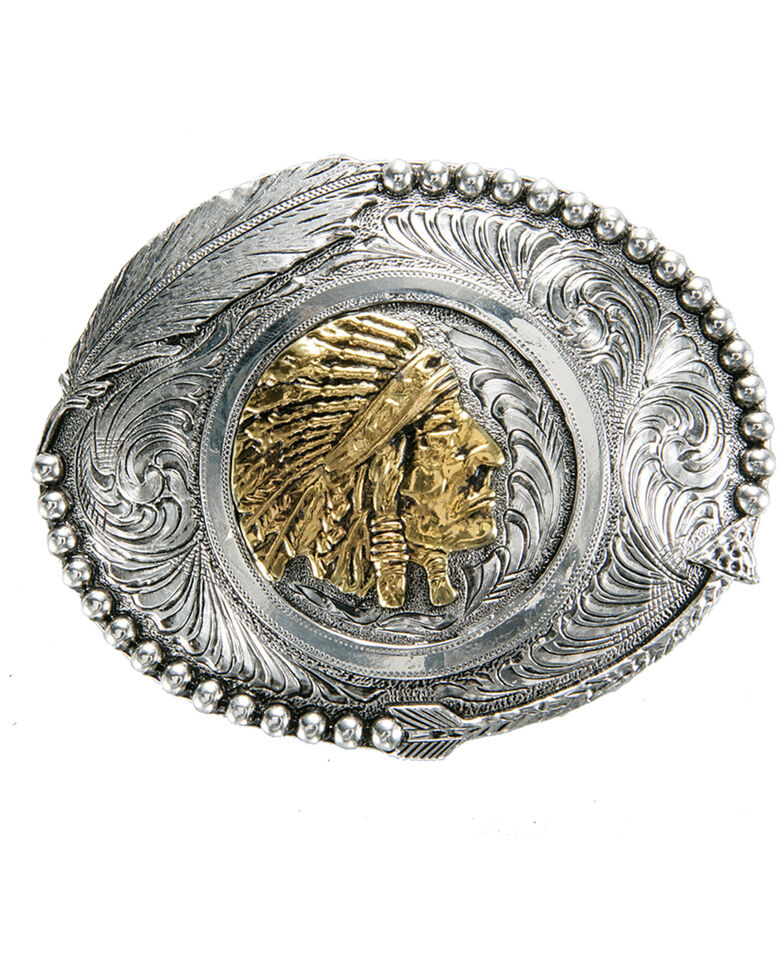 AndWest Two-Tone Indian Chief Feather Buckle, Gold, hi-res