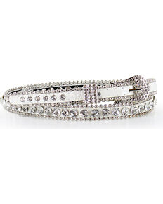Shyanne® Women's Thin Rhinestone Studded Belt, White, hi-res