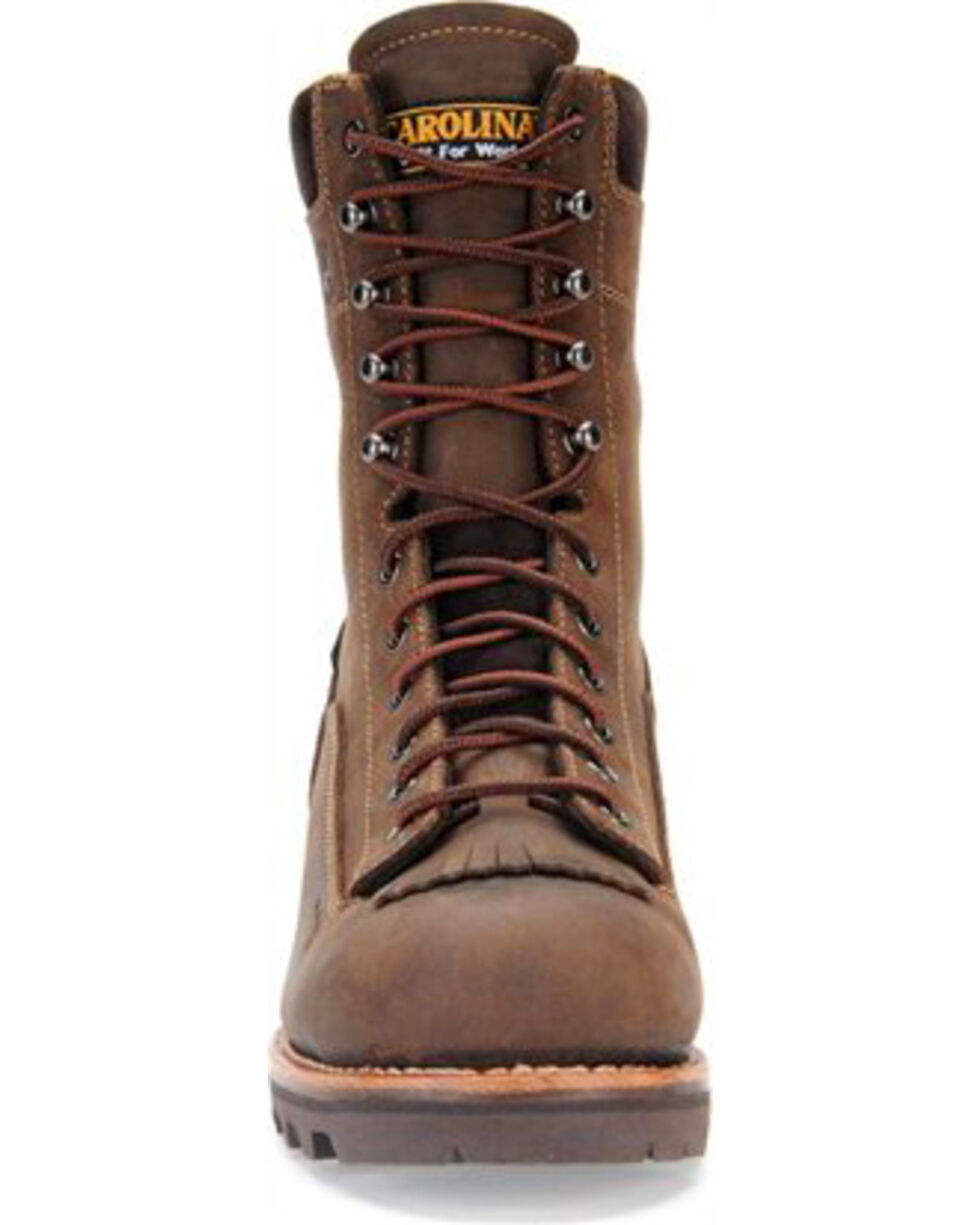 "Carolina Men's 8"" Waterproof Logger Work Boots, Brown, hi-res"