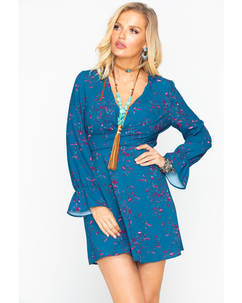 Eyeshadow Women's Floral Surplice Wrap Print Long Sleeve Dress , Turquoise, hi-res