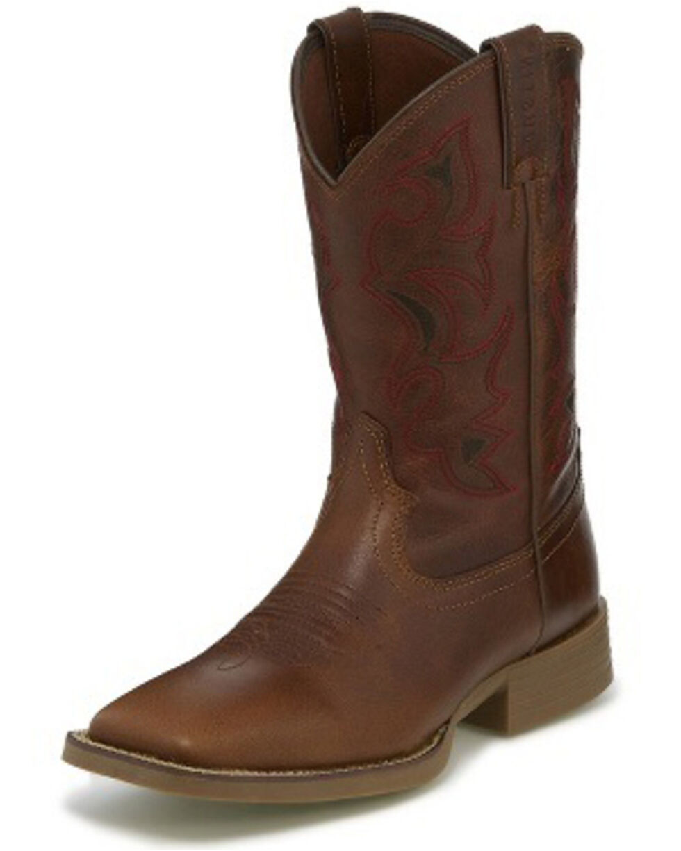 Justin Men's Chet Buff Western Boots - Wide Square Toe, Lt Brown, hi-res