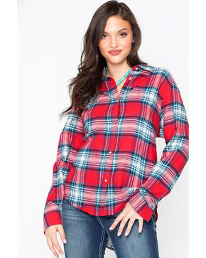 Wrangler Women's Plaid Boyfriend Fit Flannel Shirt, Red, hi-res