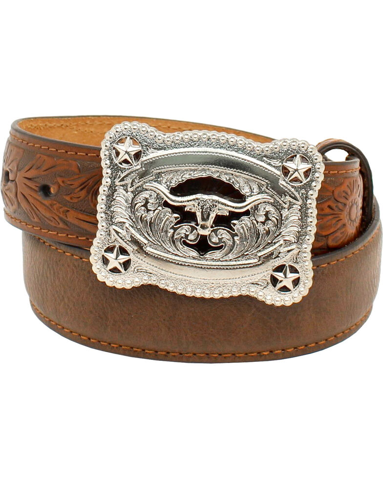 Nocona Belt Co. Youth Western Tooled Leather Belt & Buckle, Brown, hi-res