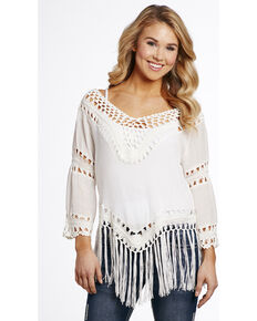 Cowgirl Up Women's Crochet Tassel Top, White, hi-res