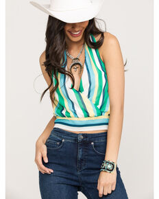Flying Tomato Women's Green Stripe Halter Crop Top, Green, hi-res